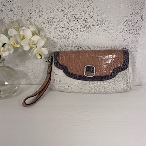 Guess Brown & Off White Reptile Pattern Wristlet